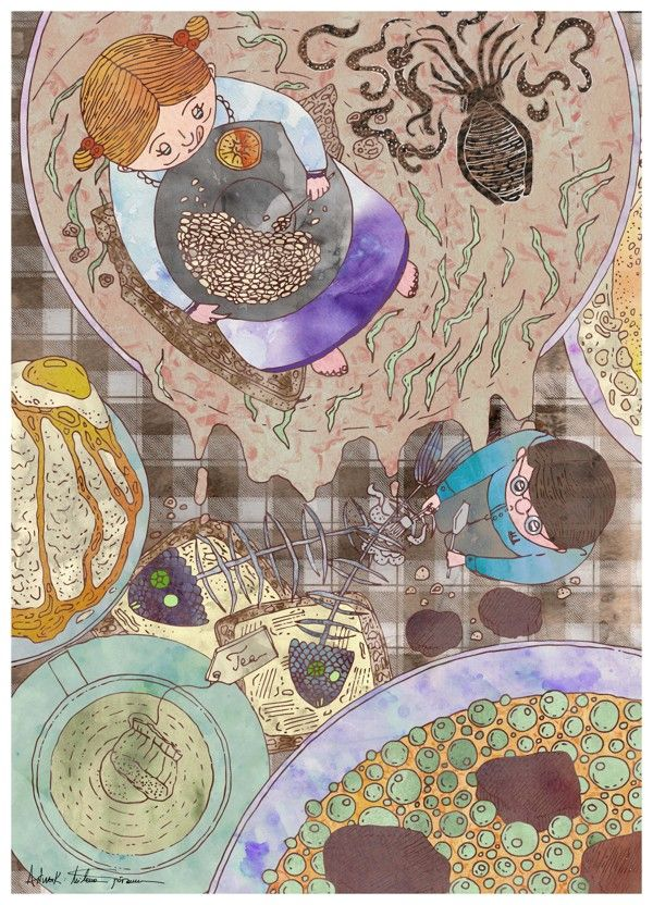 Illustration for children's stories about food and cooking by Milena Taranu, via Behance