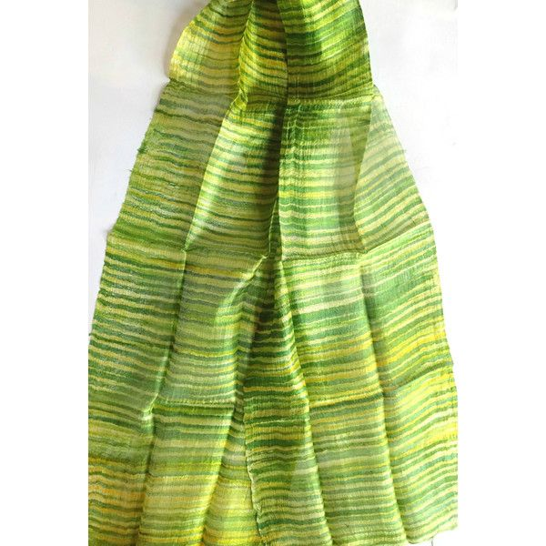 Green Silk Scarf Hand Dyed Handwoven Natural Pure Raw Silk Wedding... ($17) ❤ liked on Polyvore featuring accessories, scarves, green shawl, lightweight scarves, batik scarves, pure silk scarves and silk scarves