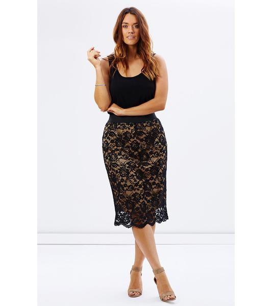 Nude Scalloped Lace Skirt - Lala Belle The Label Women's Plus Size Dresses & Clothing Australia