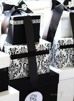 Sophisticated black and white packages