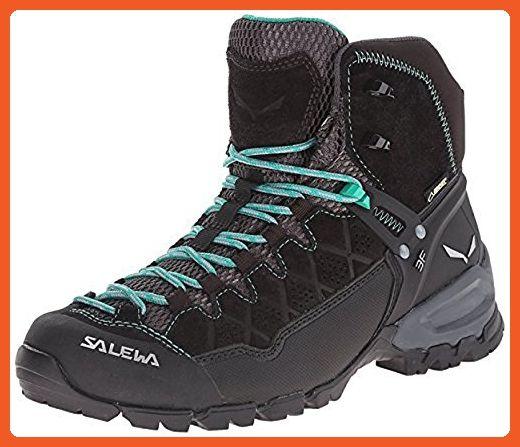 Salewa Women's Alp Trainer Mid GTX Boots Black Out / Agata 6 & Etip Lite Gripper Glove Bundle - Outdoor shoes for women (*Amazon Partner-Link)