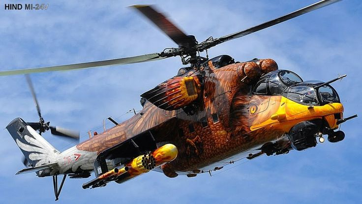 The mi-24's blades Aren't on straight, but tilted a little to the right to make it more stable in a hover!!