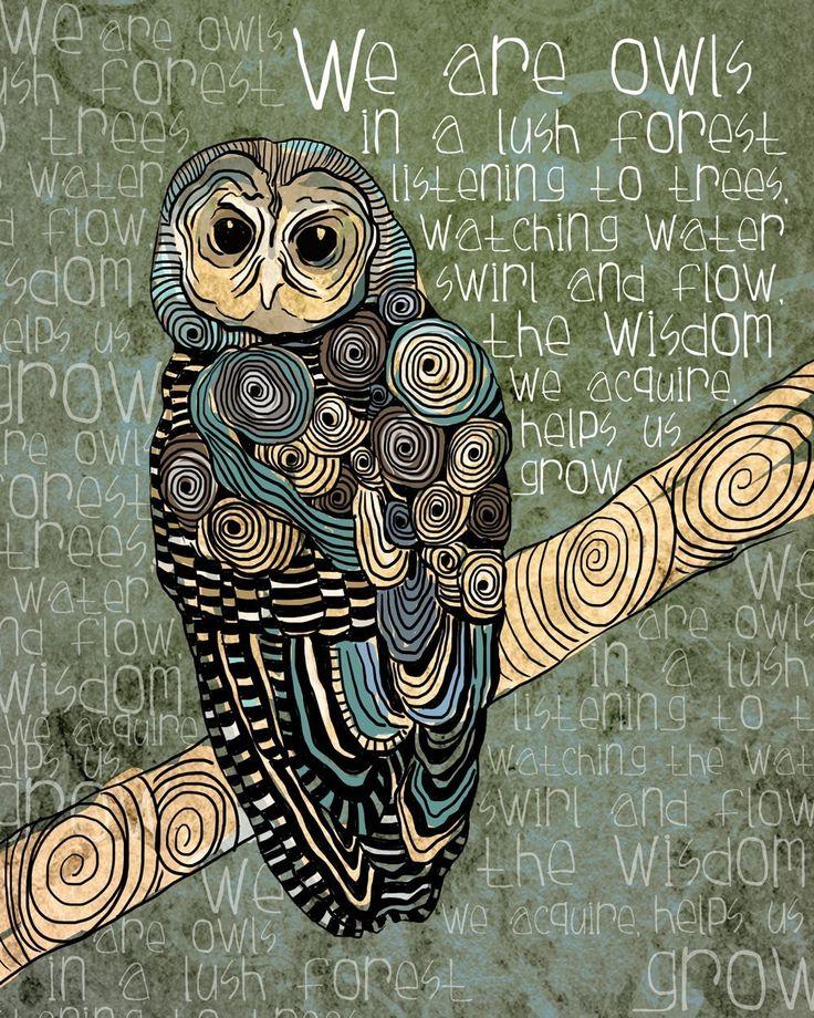 The Wisdom We Acquire / Owl / original illustration ART Print SIGNED /  8 x 10.