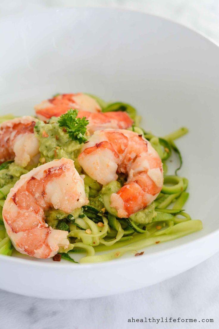 Zucchini Noodle Shrimp Scampi with Avocado Sauce