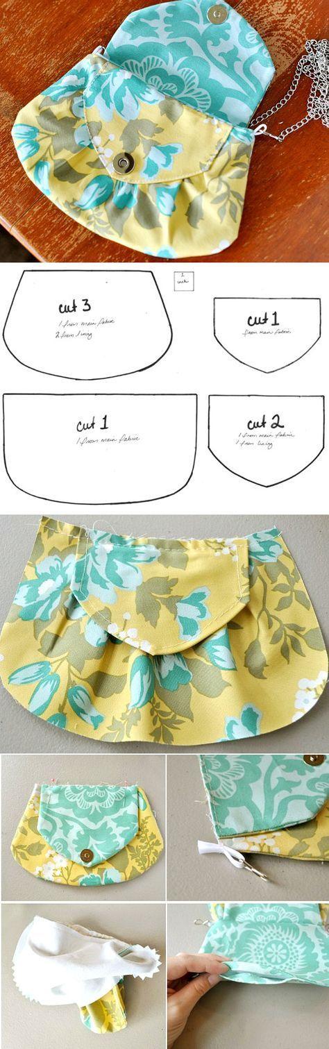 Clutch Handbag DIY tutorial with patterns.  http://www.handmadiya.com/2015/10/clutch-handbag-tutorial.html