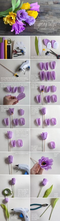 Add a little pop of color with these pretty spring tulips made from crepe paper. Use the printable pattern and step-by-step tutorial to make these simple blooms.
