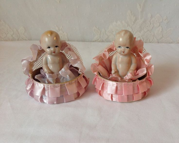 Pair of 2 vintage antique baby girl shower cake toppers, vintage baby ceramics, antique baby shower cake toppers by LakesideVintageShop on Etsy