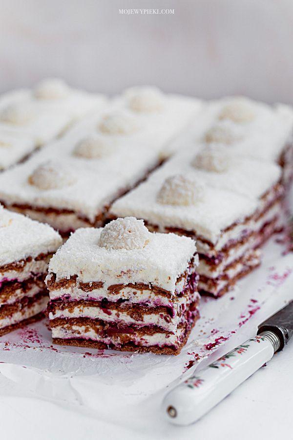Coconut Cream & Blackcurrant Zebra No-Bake Cake