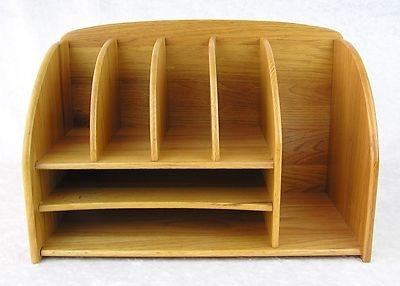 large sturdy oak wood desktop desk letter bill organizer mail holder