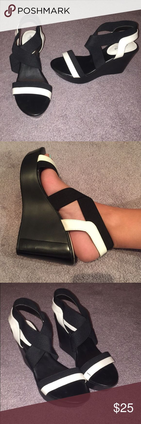 Black and white Strappy Heel The wedge makes these heels super comfortable! Worn once! Charles David Shoes Heels