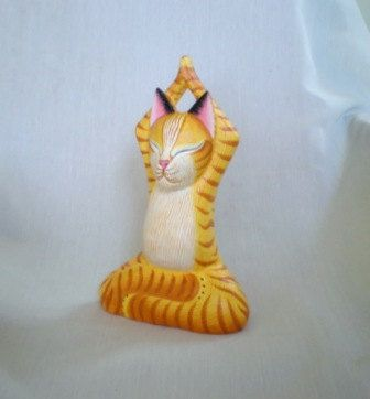 www.etsy.com/shop/ExtravaganzaBali CAT YOGA wood carved, painted with acrylic colors by ExtravaganzaBali on Etsy.  HIGH 25 CM  (9,8 inches).