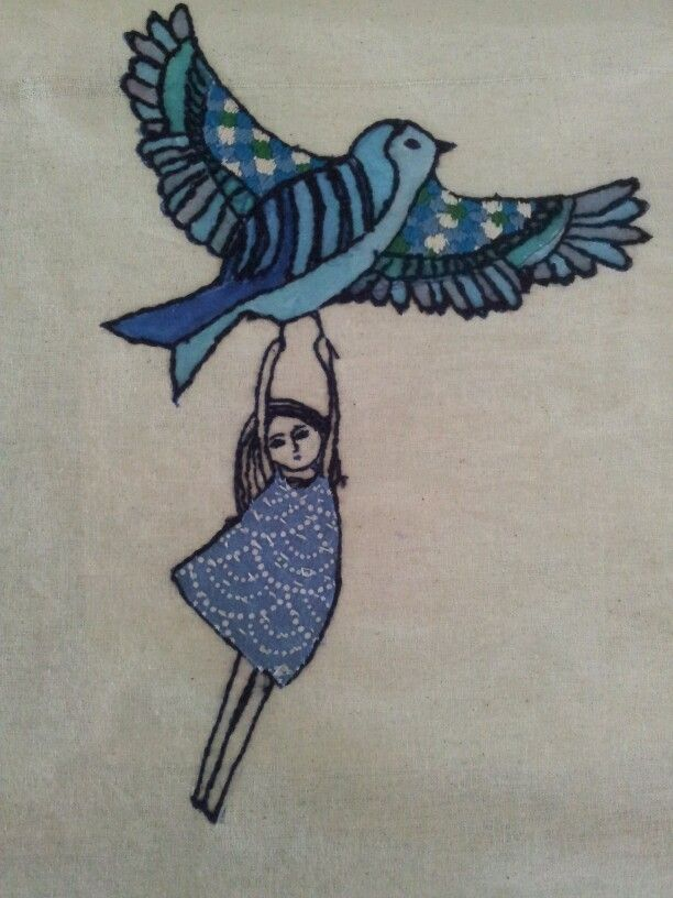 Flying dreams3 Ivonne mace.  hand painted and hand stitched on calico.copyright. ivonne mace. Price $120 matted and framed. $95 matted only.size about 20cm x20cm.