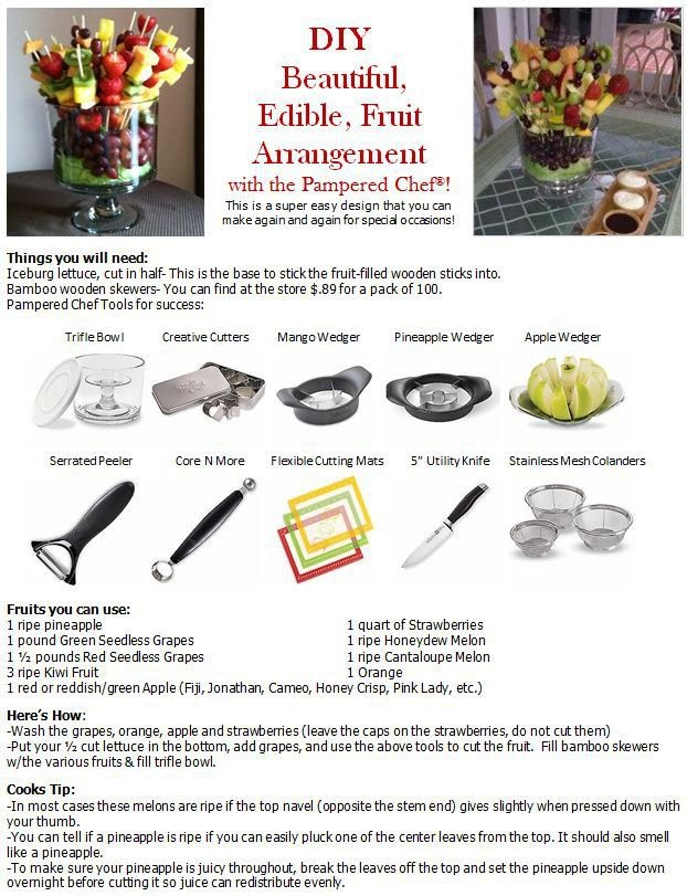 Instructions to make an Edible Arrangement by Pampered Chef.  www.pamperedchef.com/pws/kimpierce