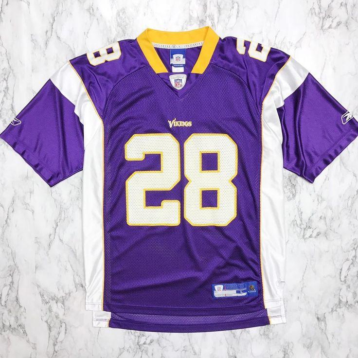 Minnesota Vikings 28 Peterson Reebok NFL Equipment Jersey Players on Field L     eBay