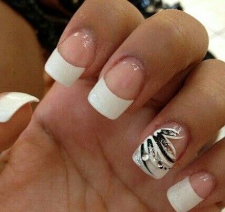 75 best french tip punta blanca images on pinterest french white french tips with black design prinsesfo Image collections