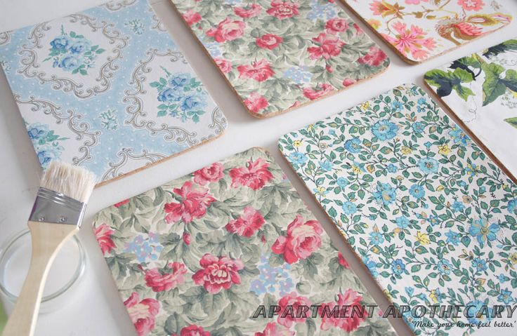 vintage wallpaper covered placemats