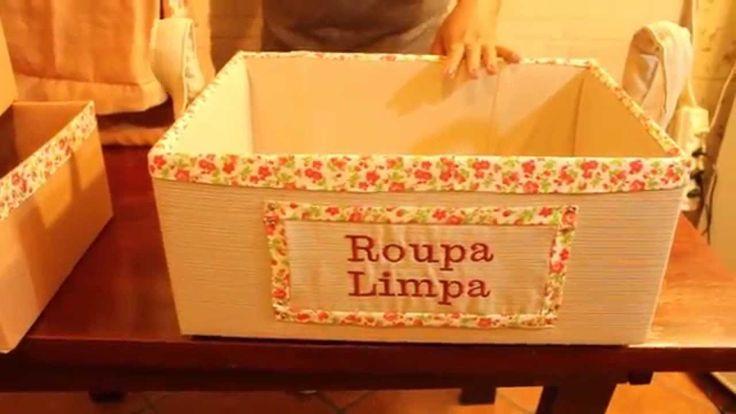 Dicas simples de como forrar caixas de papelão e fazer incríveis organizadores.