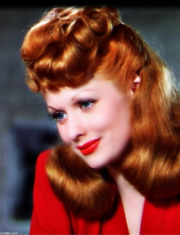 """Lucy shows off her new hair color (""""Tango Red"""") in the lush, Technicolor production of DuBarry Was a Lady (1943)."""