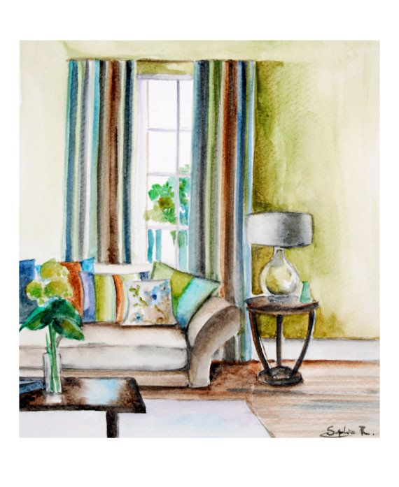 Art print of original watercolor painting 9x11 interior for 9x11 room design