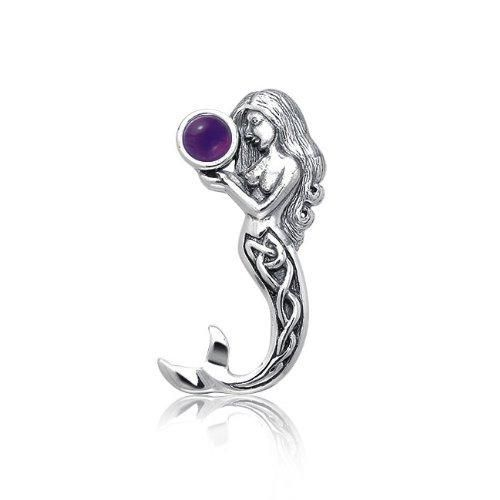 Bling Jewelry 925 Silver Celtic Knot Mermaid Pendant with Amethyst Gemstone