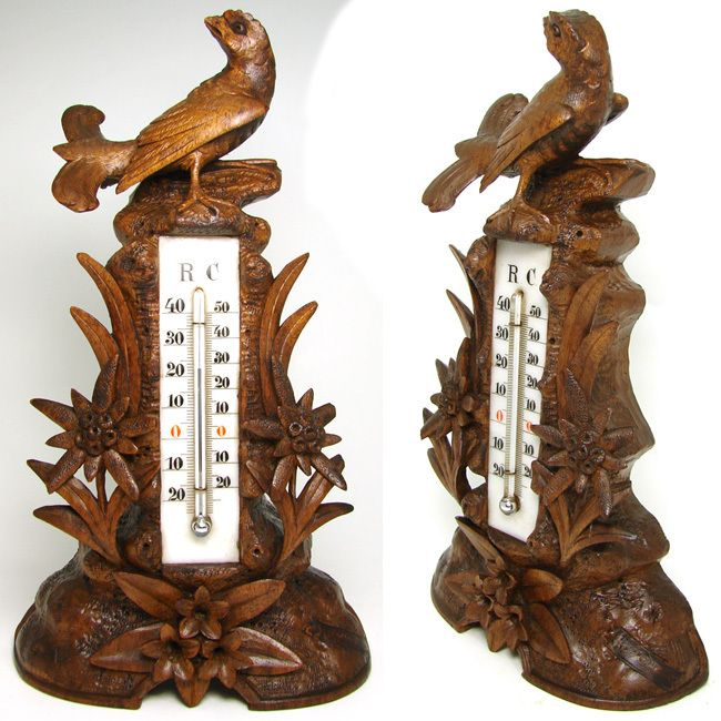 """Antique Victorian Black Forest Figural Carved Wood 10 3/4"""" Thermometer Stand"""