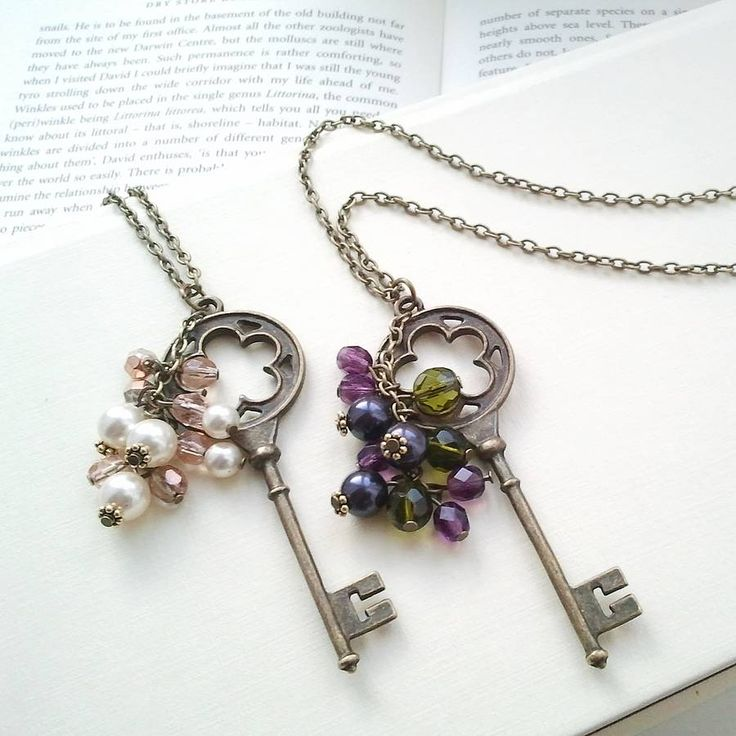 A vintage style pendant necklace featuring a large key pendant, offset with a cluster of beads and Swarovski pearls, inspired by The Secret Garden and a perfect gift for a vintage-loving lady. Lustrous Swarovski pearls and Czech glass beads sparkle and catch the light as they cascade from this on-trend longer length necklace. Choose either ethereal ivory and pink or glinting amethyst and forest green – colours we've chosen to reflect misty mornings and twilight in the secret garde...