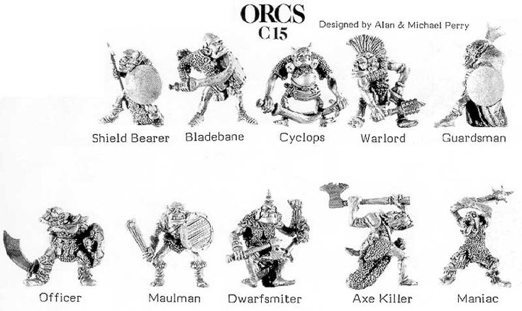 Citadel C15 Orcs (PreSlotta) - Sculpted by the Perry Brothers. Autumn 1985.
