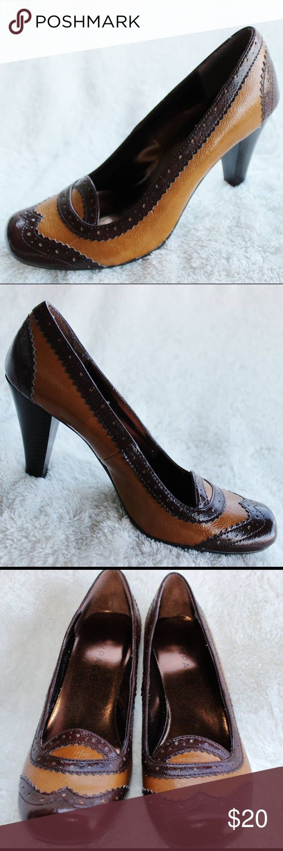 RAMPAGE Brown & Camel Pump Heels- Size 8.5M These palms are in great condition! They have been very gently loved. There are no spots or flaws on them. The heels measure 3 1/2 inches. Rampage Shoes Heels