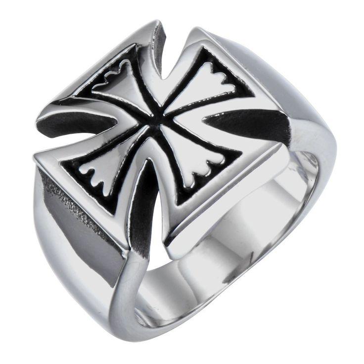 R&B Herren Ring Edelstahl - Kollektion Bad Ass - Kreuz der Kelten (Silber, Schwarz): 22,90€