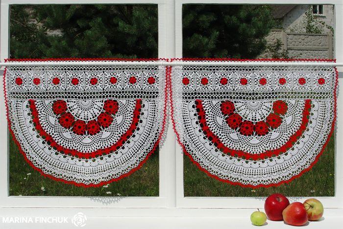 "Шторки-zazdrostki ""Яжембина"", crochet-curtains"