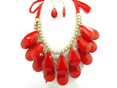 "Bubble BIB 2 Row Tear Drop Huge Chunky Necklace Set - RED COLOR eshop. $19.99. Red color String. String Lenth : 23""each for adjustable. Length : 9.5""(bead to bead). Save 59%!"