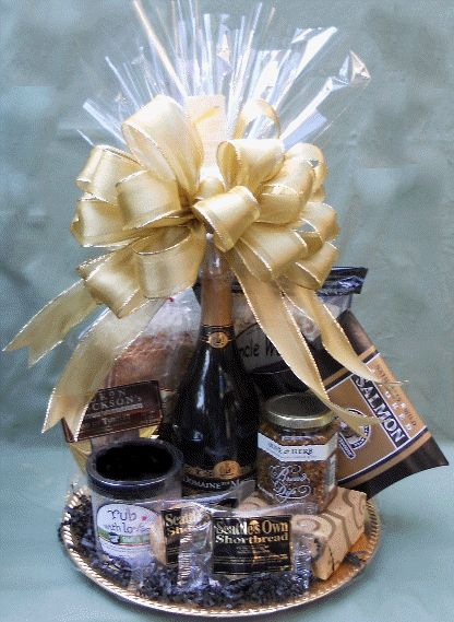 Edible Elegance: one of most popular gift baskets uses a gold charger as the base and is filled with gourmet Northwest foods. $80