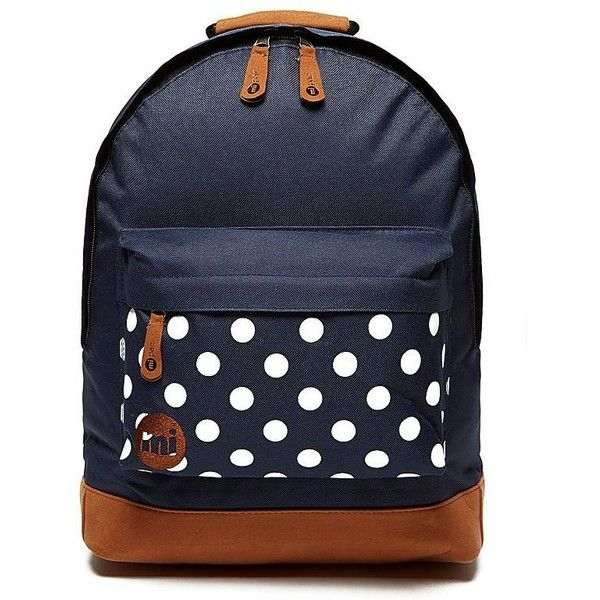 MIPAC Polka Dot Backpack ($31) ❤ liked on Polyvore featuring bags, backpacks, navy, dot backpack, top handle bag, navy backpack, blue bag and zip bags