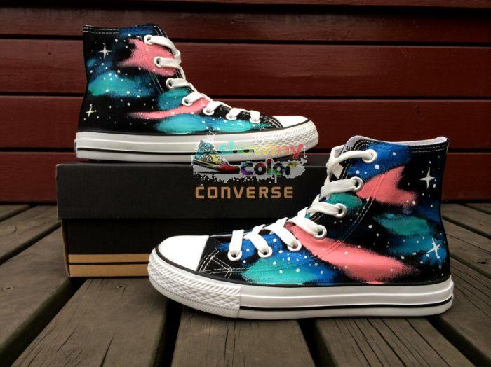 Кроссовки Converse All Star Женщины Мужчины Обувь Galaxy Туманность Дизайн Ручная Роспись Высокий Верх Холст Обувь Мужчина Женщина Подарки