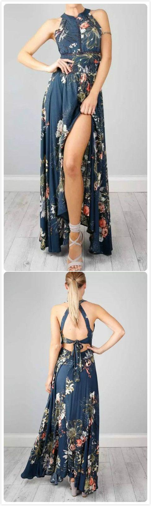 Halter Backless Floral Printed Maxi Dress