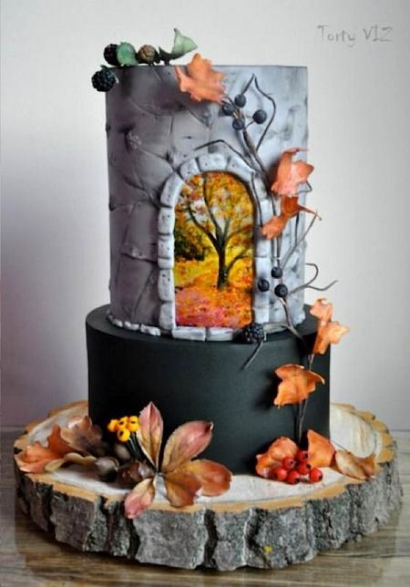 594 best autumn cakes images on pinterest autumn cake for Autumn cake decoration