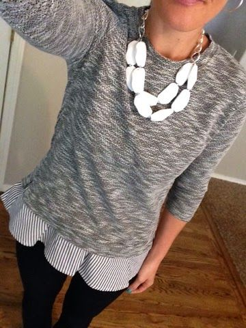 Stitch Fix - Like the space dye pattern, sleeve length and extra small detail of ruffles on the bottom and back of the top. Nawny Tiered Back Knit Top
