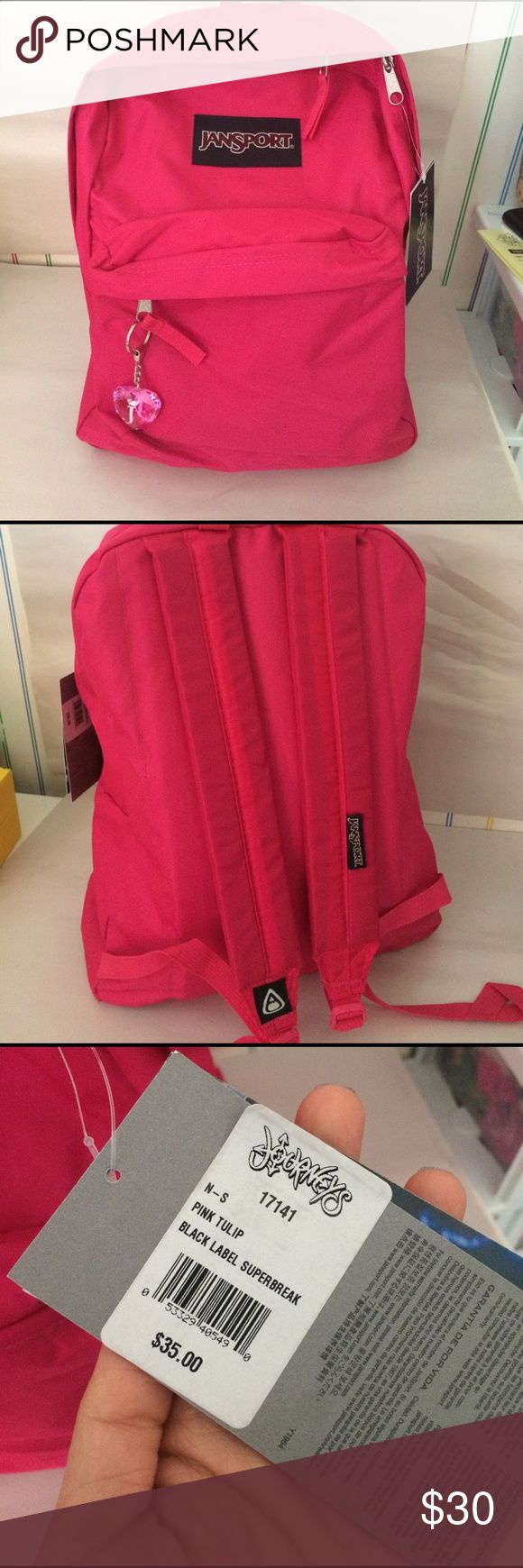 Jansport A brand new pink Jansport backpack . Adjustable straps and an outer pocket. Comes with a life time warranty. Also included are  iron-appliqués as well as a heart shaped keychain to add a personal touch 😊 Jansport Bags Backpacks