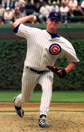 Cubs rookie Kerry Wood pitches to the Astros during the fifth inning. Wood struck out 20 batters in his fifth major league start, joining Roger Clemens as the only pitchers to accomplish the feat. 4/6/98