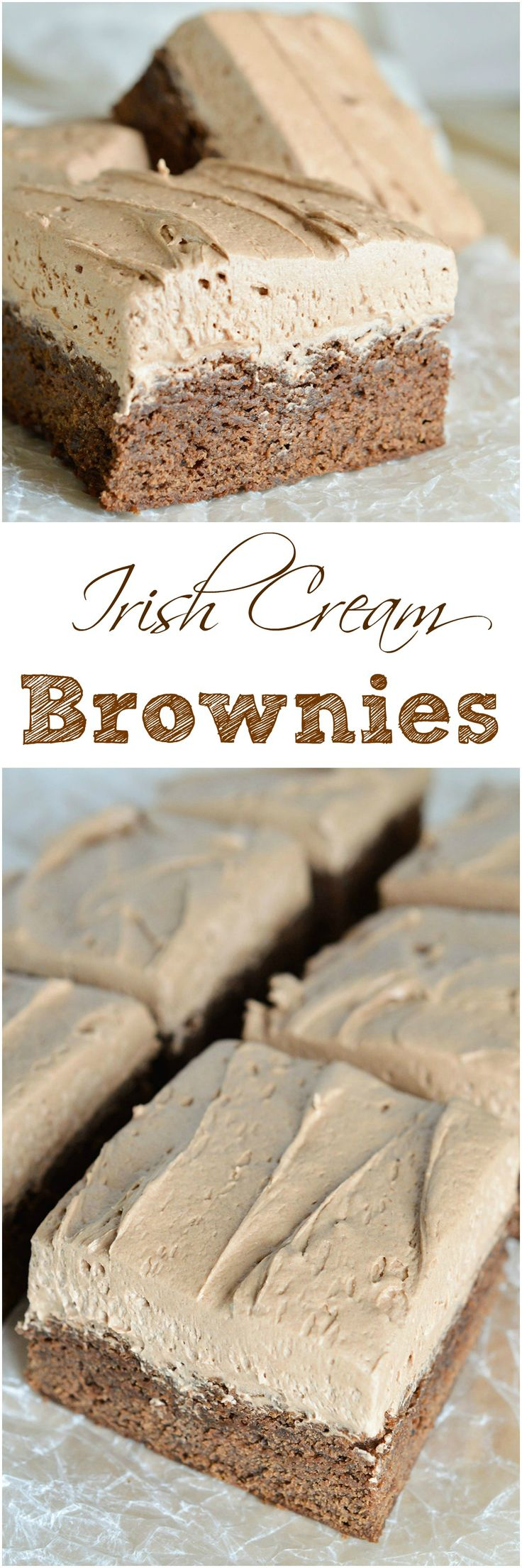 Moist cake like chocolate brownies topped with decadent chocolate Irish Cream frosting.