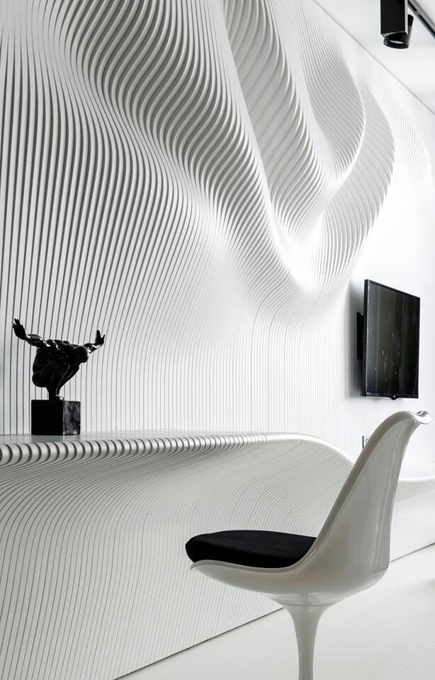 Captivating Architectural Materials // Intricate Wavy Wall On Modern Black And White  Bedroom By Geometrix Design