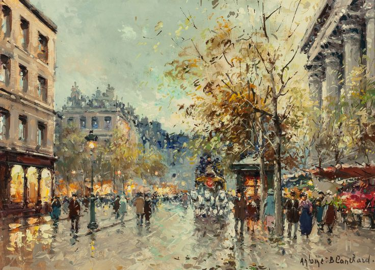 Antoine Blanchard (French, 1910-1988) Place de la Madeleine Oil on canvas 13 x 18 inches (33.0 x 45.7 cm) Signed lower right: Antoine. Blanchard.: