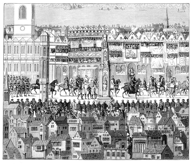 Coronation procession of King Edward VI, 1547, from the Tower of London – via the Strand – to Westminster.