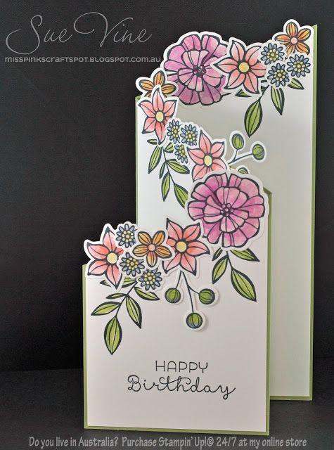 Sue Vine | MissPinksCraftSpot | Stampin' Up!® Australia Order Online 24/7 |Falling Flowers | May Flowers Framelits |Handmade Card #stampinup #fallingflowers #mayflowers