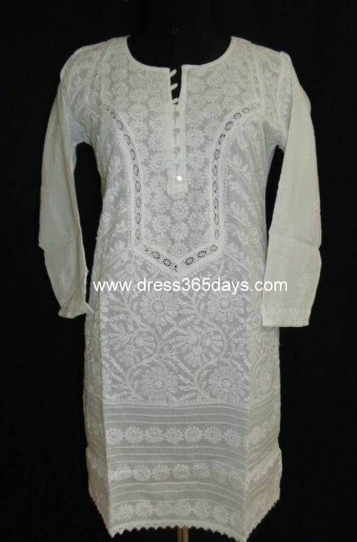 17 Best Images About White On White Kurtis On Pinterest | UX/UI Designer Beach Tops And Tunics