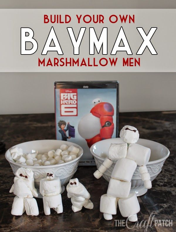 Build Your Own Baymax Marshmallow Men. Such a cute activity for family movie night or a Big Hero 6 themed party! #bighero6movienight #ad @target