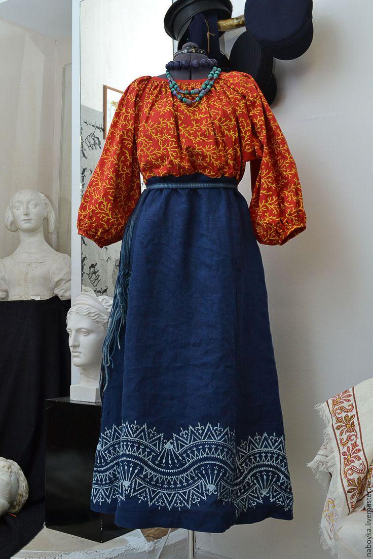 Купить Покосница. Рубаха-платье. - кубовая набойка, набойка, ручная набойка, традиционный крой