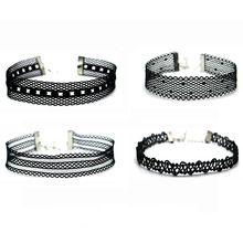 2017 Nový čierny čipka náhrdelník pre ženy 4ks Tetovanie Chokers Chocker Náhrdelníky Set Gothic Collier Femme golier (Čína)