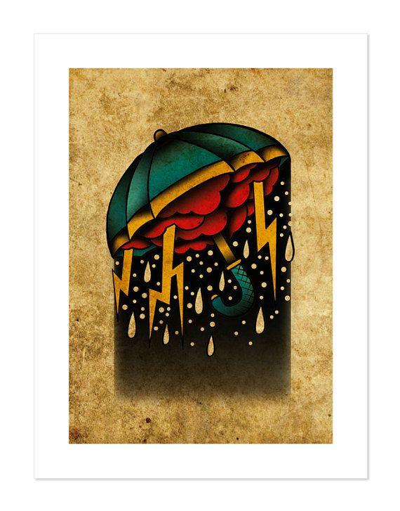 Ombrello tempesta, Neo-tradizionale Tattoo Flash, vecchia scuola, arte stampa 12x16