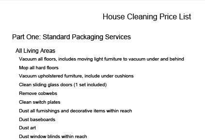 Price List, standard cleaning